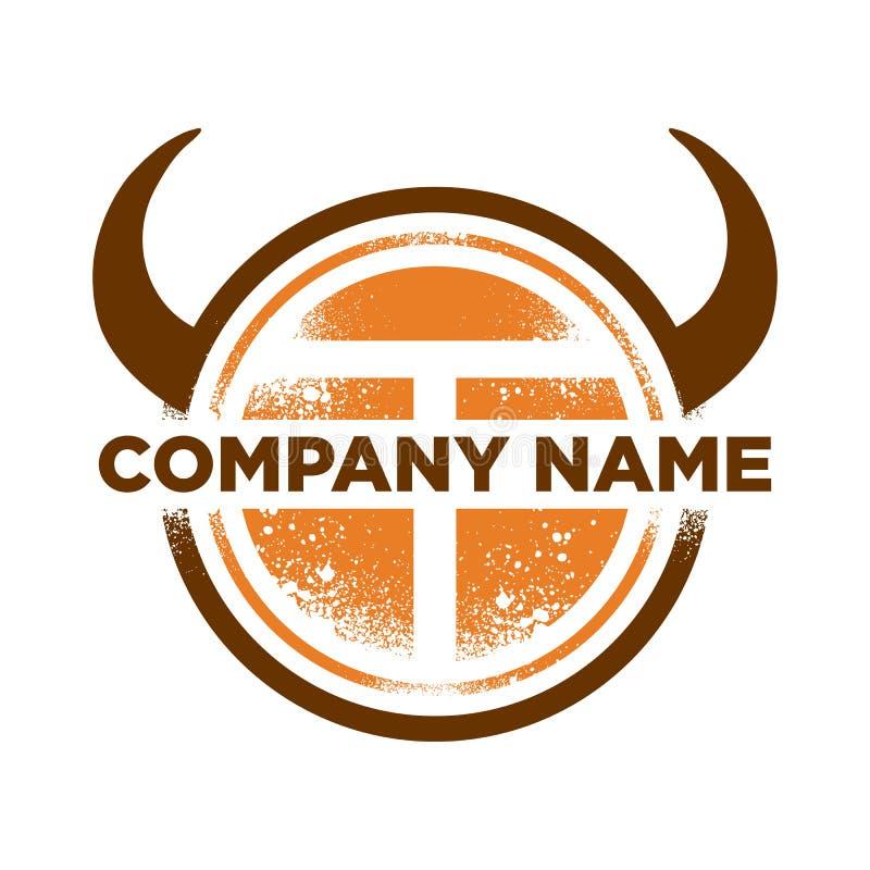 Initial T Buffalo Safaris Adventure Logo Template royalty free stock image