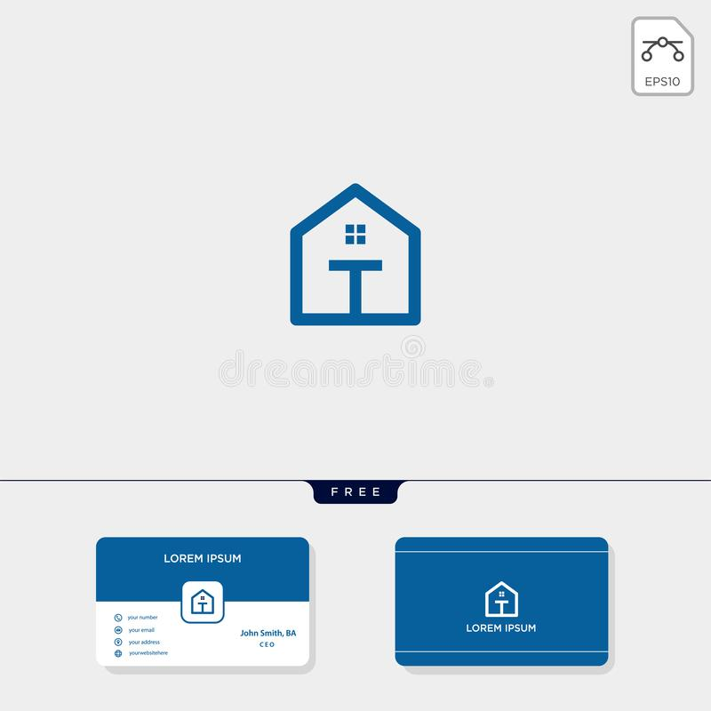 initial T creative logo template, minimalist logo for real estate corporate. vector illustration, business card design template stock illustration