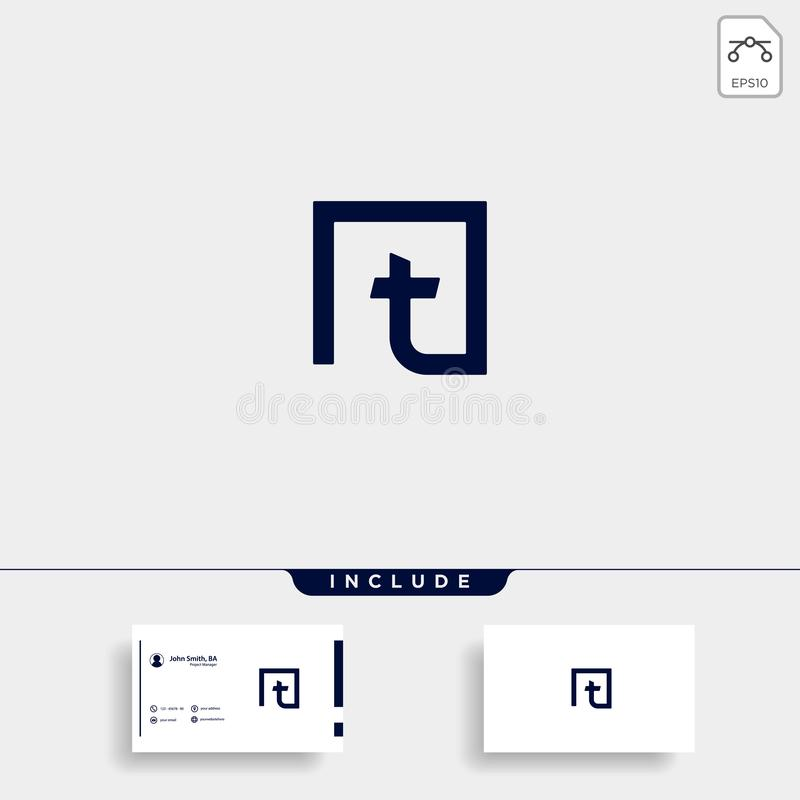 Initial T Simple Logo Template Vector Design. Icon, line, symbol, letter, technology, abstract, logotype, business, creative, modern, shape, element, company stock illustration