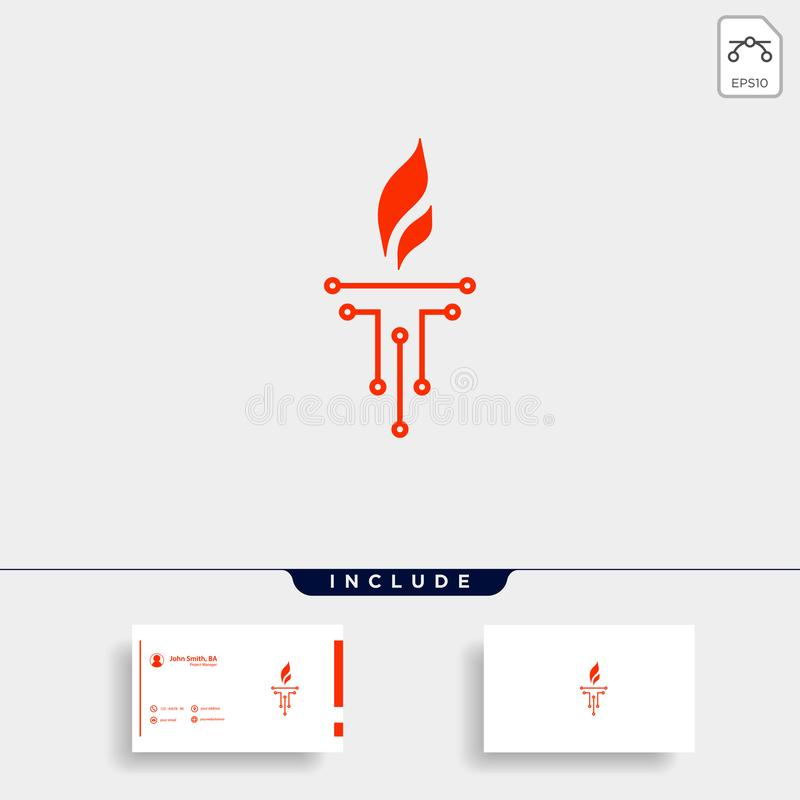 Initial T Torch Logo Template Vector Design. Flame Icon, fire, flare, black, company, business, emblem, symbol, corporate, hot, elegant, letter, burn, alphabet vector illustration
