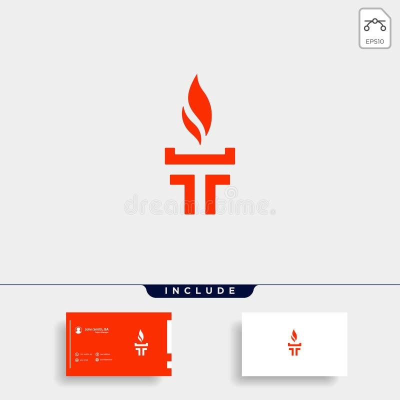 Initial T Torch Logo Template Vector Design. Flame Icon, fire, flare, black, company, business, emblem, symbol, corporate, hot, elegant, letter, burn, alphabet stock illustration
