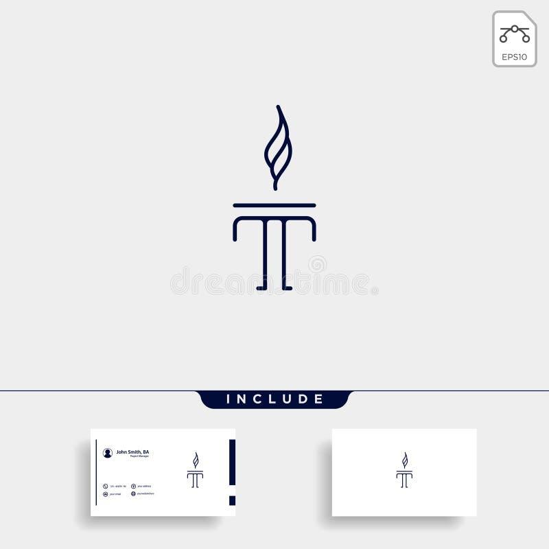 Initial T Torch Logo Template Vector Design. Flame Icon, fire, flare, black, company, business, emblem, symbol, corporate, hot, elegant, letter, burn, alphabet royalty free illustration