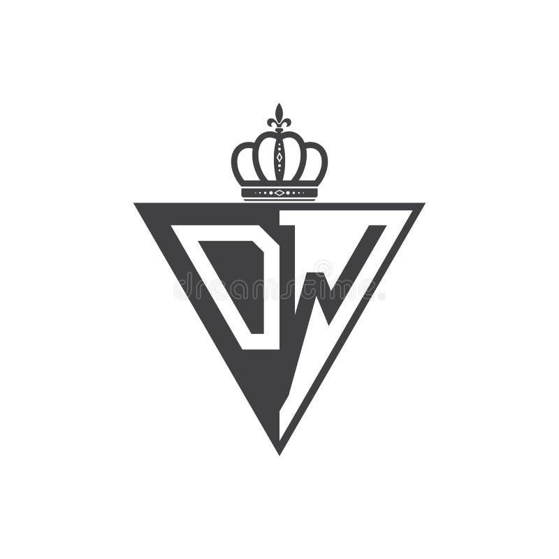 Initial två för logotriangel för bokstav DW halv svart stock illustrationer