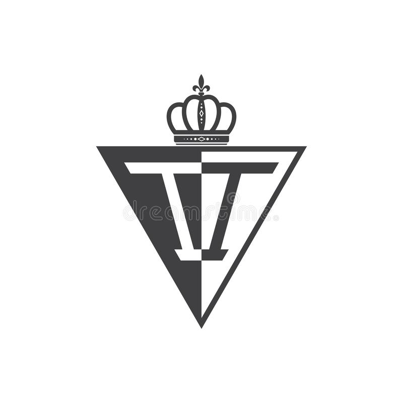 Initial two letter II half logo triangle black vector illustration
