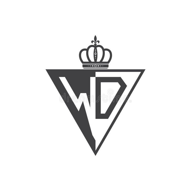 Letter WD Logo Digital Technology Style Stock Vector
