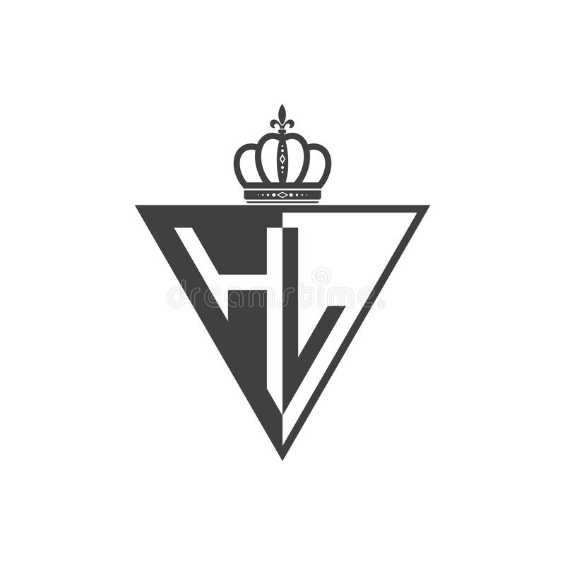 Initial two letter HL half logo triangle black. Luxury trianggle logo with crown vector illustration