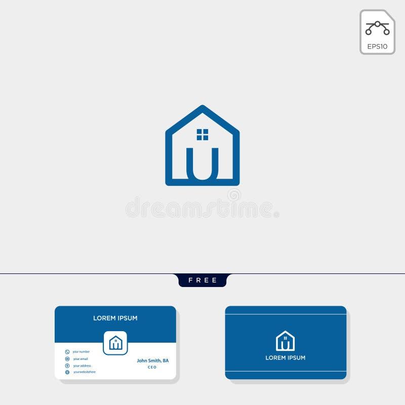 initial U creative logo template, minimalist logo for real estate corporate. vector illustration, business card design template royalty free illustration