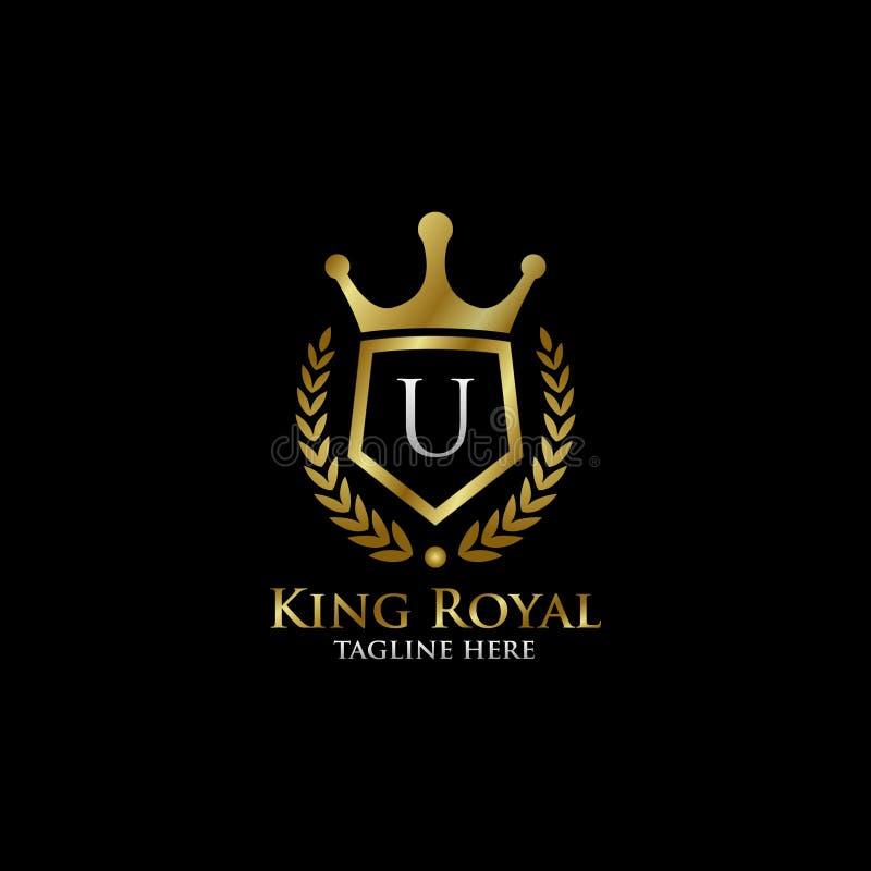Initial U Luxury Shield Royal Logo. Letter U Luxury Shield Royal Logo , classy Elegant Logo with gold color in black background stock photo