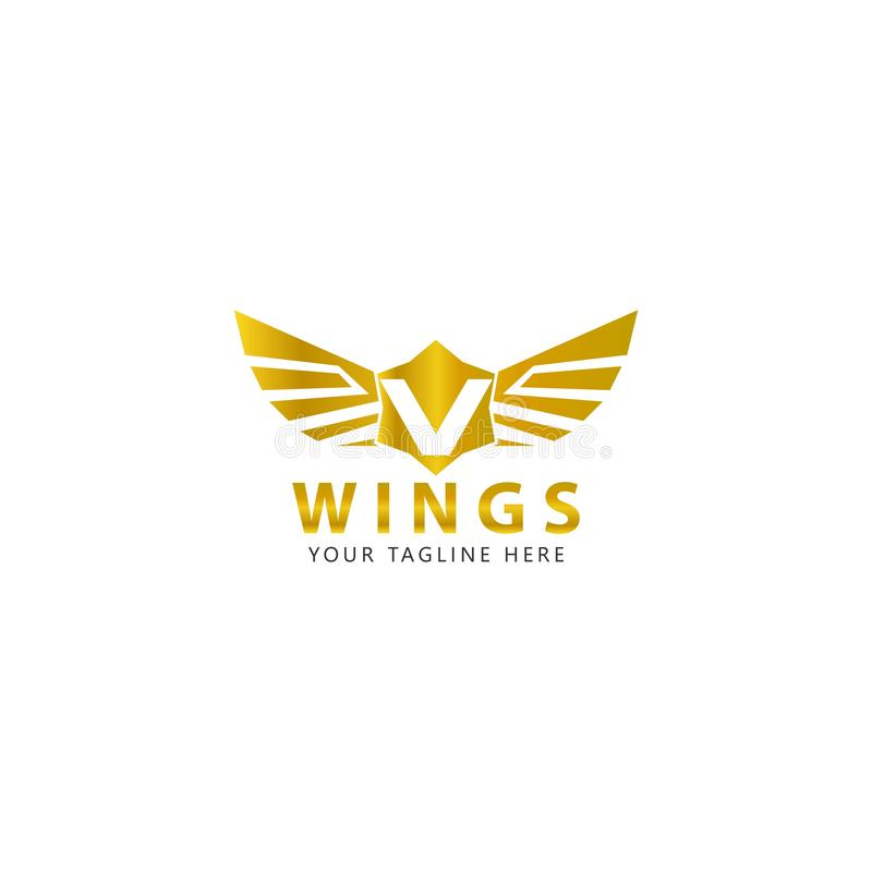 Initial V with the Gold Wings logo is a modern design royalty free illustration