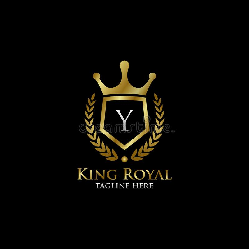 Initial Y Luxury Shield Royal Logo. Letter Y Luxury Shield Royal Logo , classy Elegant Logo with gold color in black background stock image