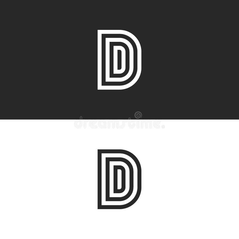 InitialDDDbokstäver monogram eller D-logodesign Lyxigt linjärt svartvitt idérikt minimalist stilemblem stock illustrationer