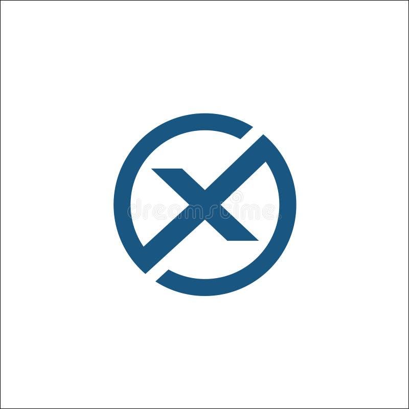 Initialen X de vectorsamenvatting van het cirkelembleem stock illustratie