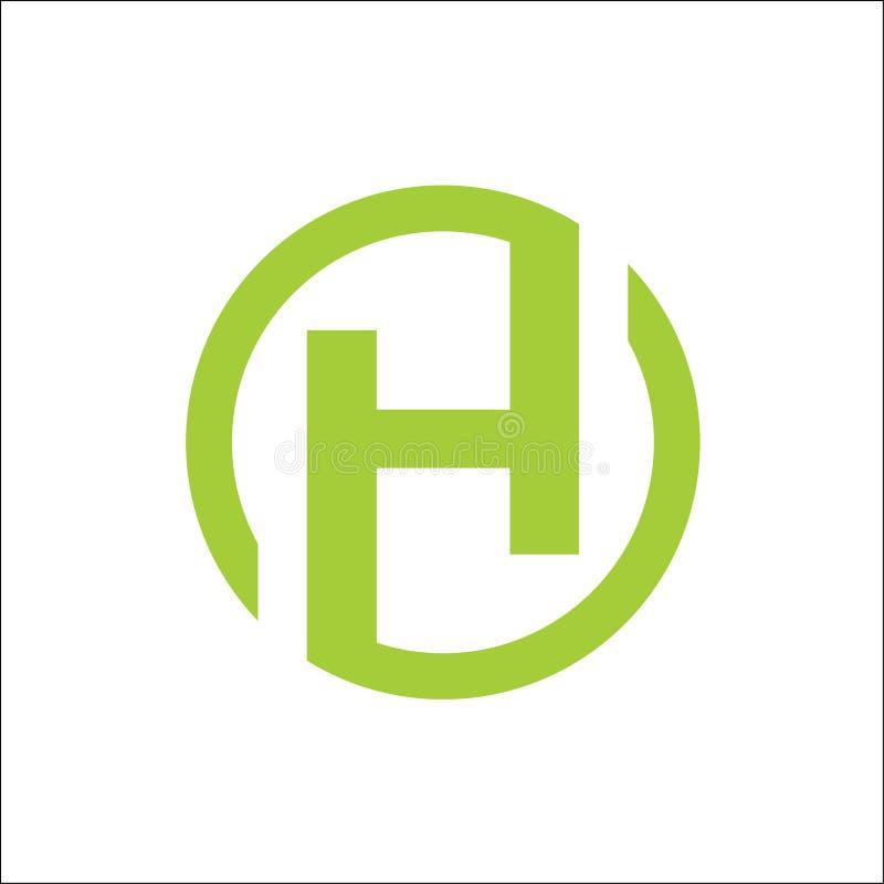 INITIALEN h-de vectorsamenvatting van het cirkelembleem stock illustratie