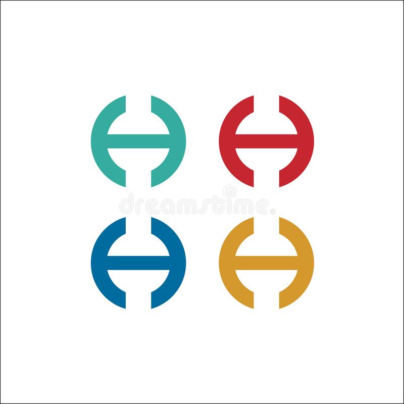 Initialen h-het vectormalplaatje van het cirkelembleem royalty-vrije illustratie