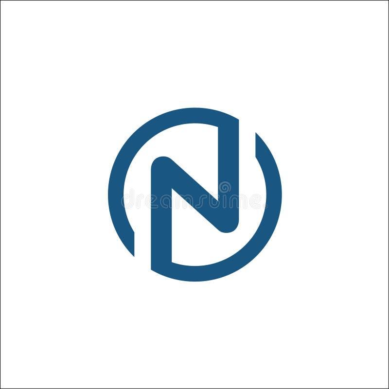 Initialen n-het vectormalplaatje van het cirkelembleem, brievenn cirkel royalty-vrije illustratie