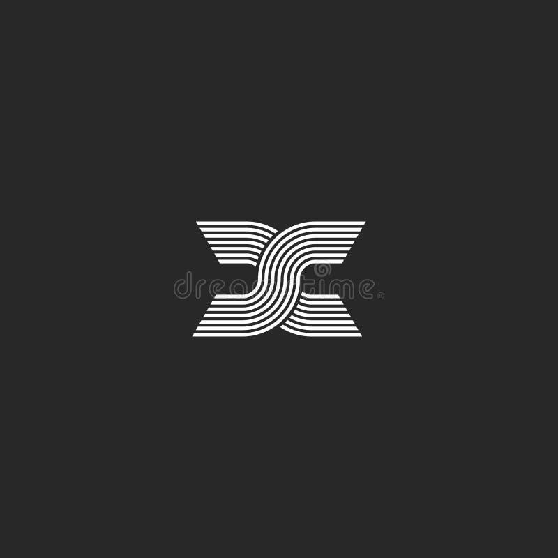 Initialer eller X för bokstäver för monogramlogoSS bokstavsfläck, idérikt emblem för designbeståndsdelmodell, överlappande tunna  vektor illustrationer