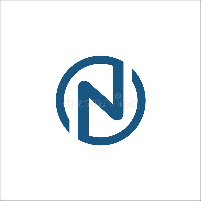 Initials N circle logo vector template ,letter N circle royalty free illustration