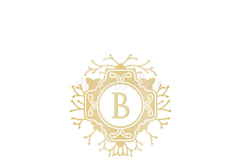Initialt B som gifta sig boutique Logo Designs Inspiration Isolated på vit bakgrund vektor illustrationer