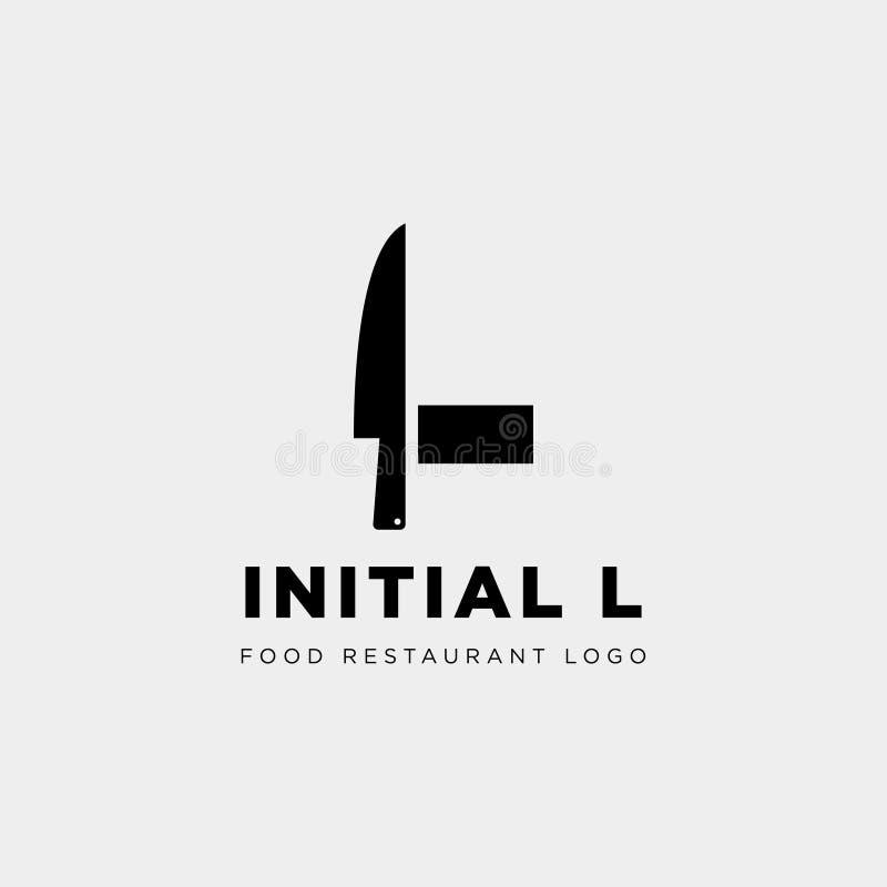 initialt l abstrakt begrepp för symbol för mall för logo för matutrustning enkelt vektor illustrationer