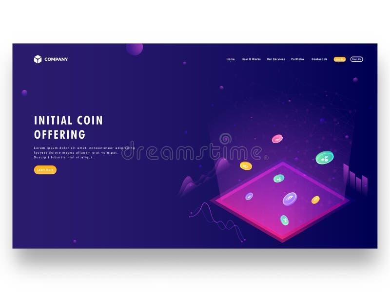 Initialt mynt som erbjuder design för ICO-landningsida med illustratio stock illustrationer