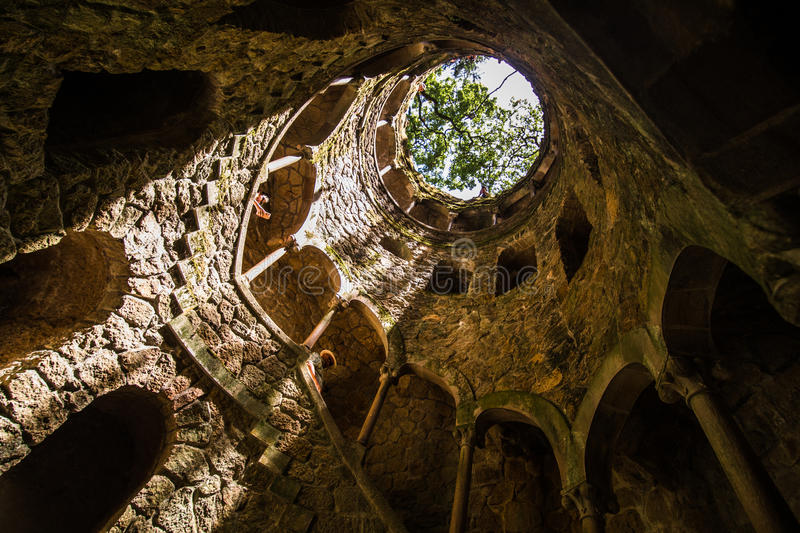 The Initiation well of Quinta da Regaleira in Sintra. The depth of the well is 27 meters. It connects with other tunnels through u stock photography