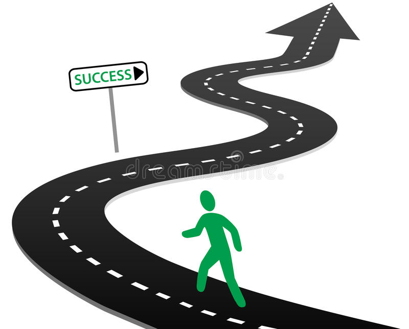 Initiative begin journey highway curves to success stock illustration