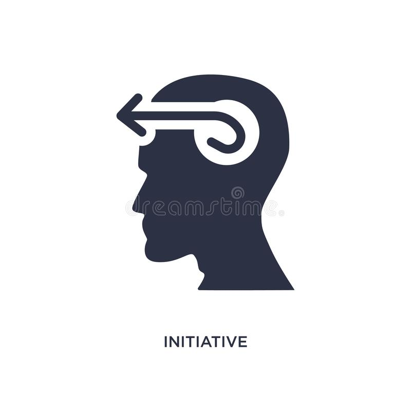 initiative icon on white background. Simple element illustration from brain process concept stock illustration