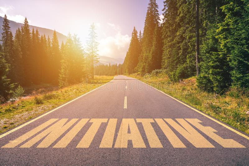 Initiative word written on road in the mountains stock photos