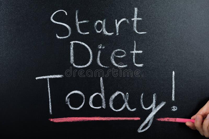 Inizi il concetto di dieta sulla lavagna fotografie stock