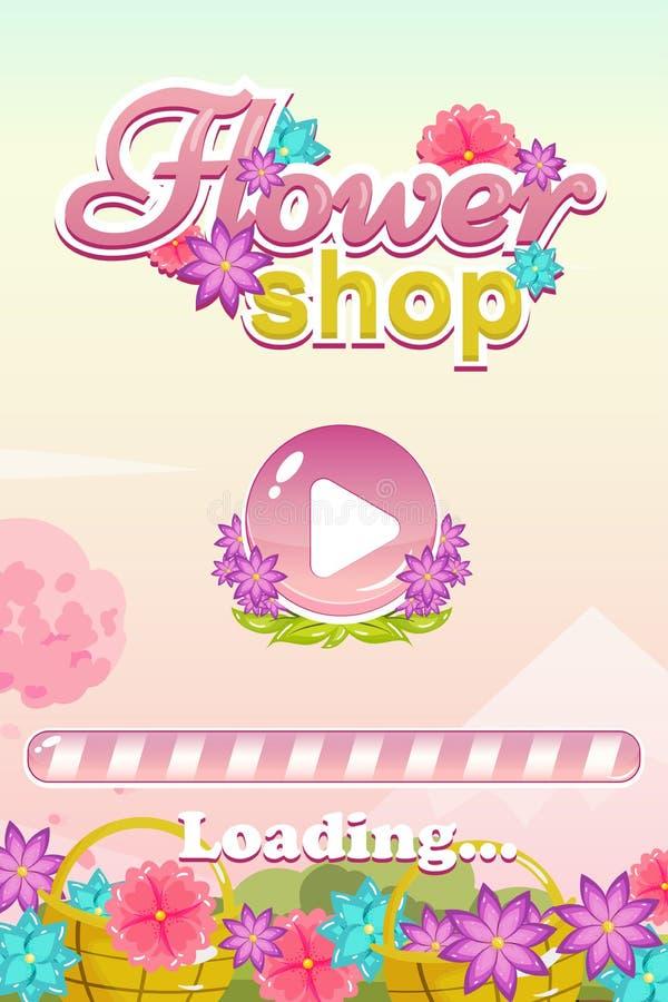 Inizi l'interfaccia utente del gioco dello schermo per il gioco del negozio di fiore illustrazione di stock