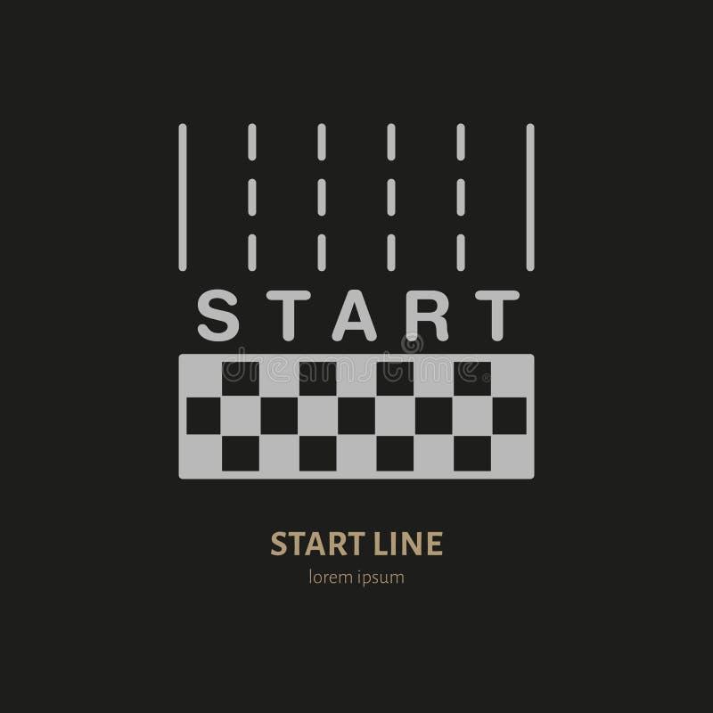 Inizi la linea icona lineare di vettore Automobile di velocità, segno della vettura da corsa Illustrazione della concorrenza illustrazione di stock