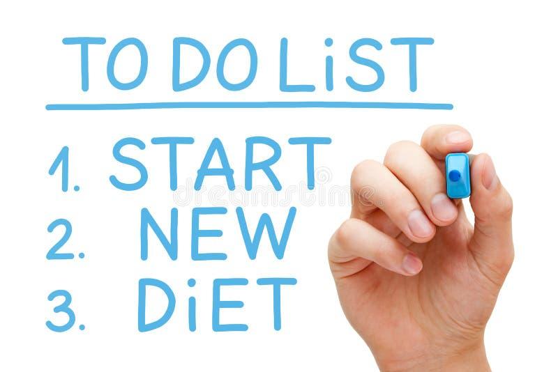 Inizi la nuova dieta per fare la lista immagine stock libera da diritti