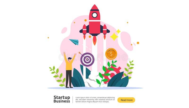 Inizi sul concetto di idea affare di progetto con il carattere minuscolo della gente del razzo nuovo prodotto o modello del lanci illustrazione vettoriale
