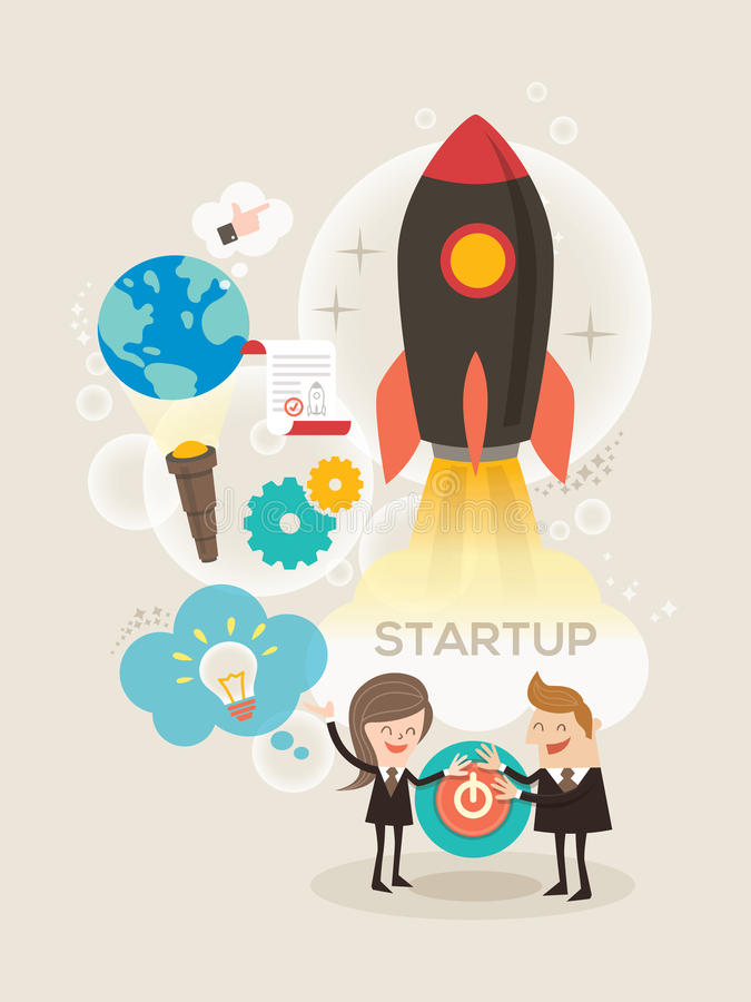 Inizi sull'illustrazione di concetto di affari illustrazione di stock