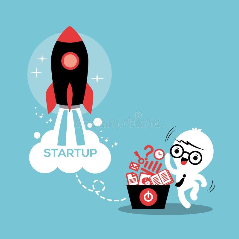 Inizi sull'illustrazione di successo di affari dell'imprenditore illustrazione di stock