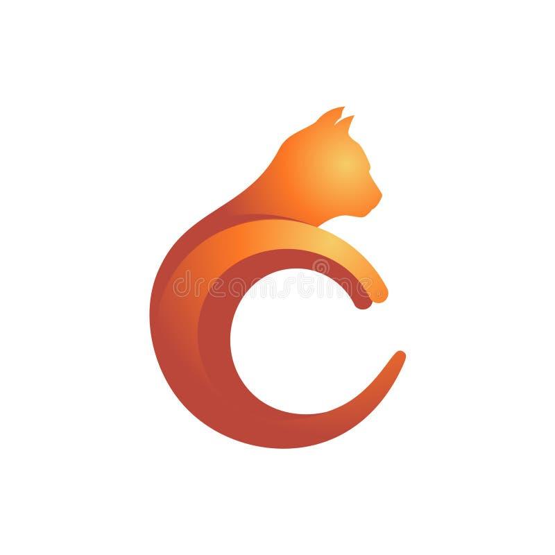 Iniziale Cat Kitten Shape Logo Icon Illustration della lettera di C royalty illustrazione gratis