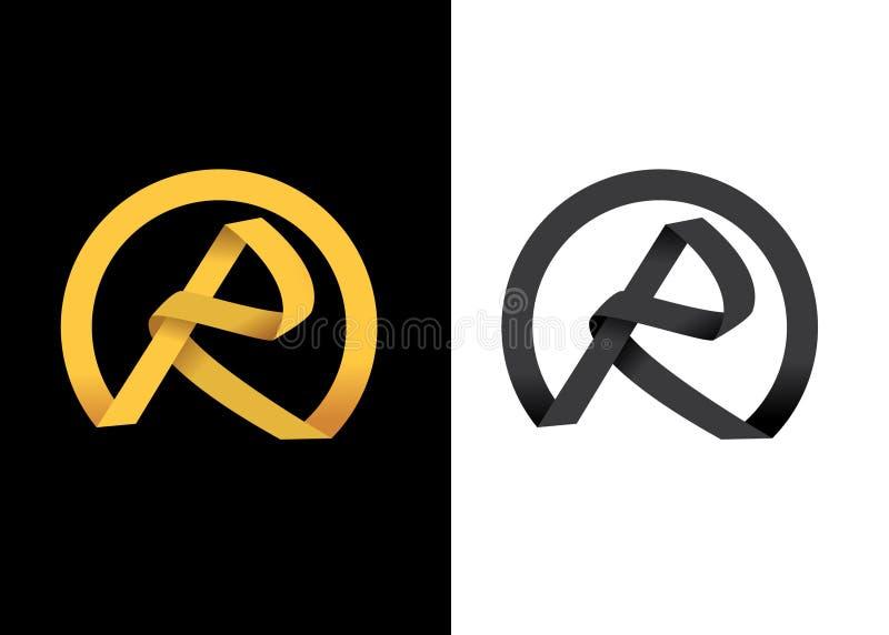 Iniziale creativa dorata della lettera R illustrazione vettoriale