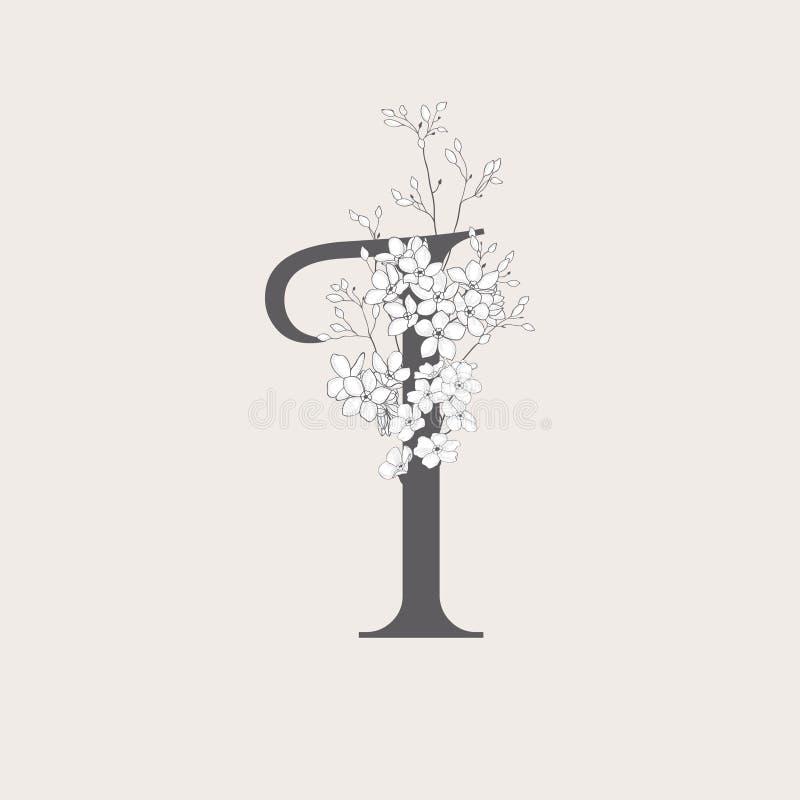 Iniziale floreale di fioritura di vettore io monogramma e logo royalty illustrazione gratis