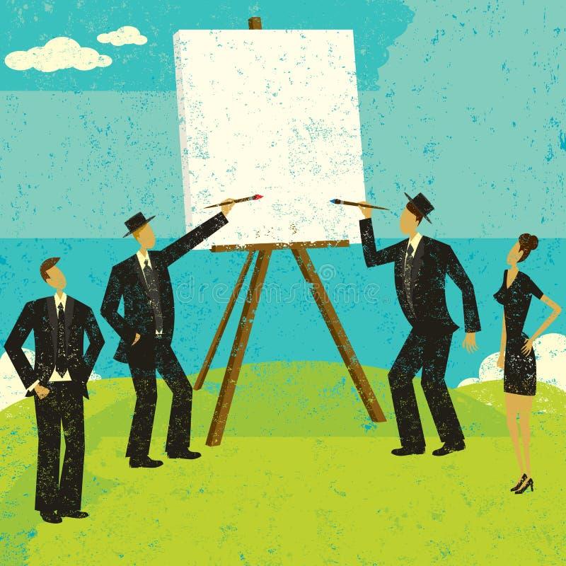 Iniziando con una tela in bianco illustrazione di stock