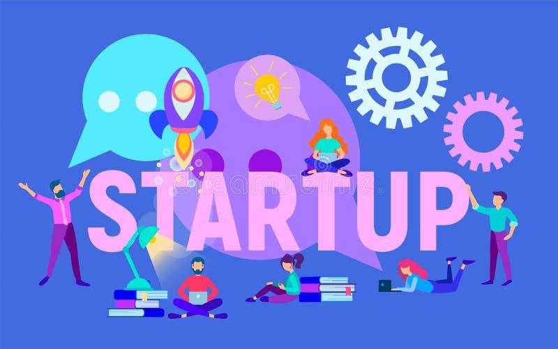 Iniziare un progetto, un'analisi e una pianificazione aziendale di affari illustrazione di stock