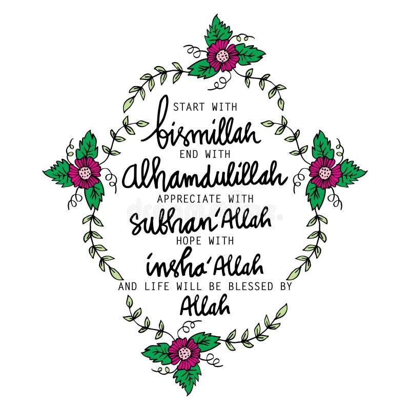 Inizio con Bismillah, estremità con Alhamdulillah, illustrazione di stock