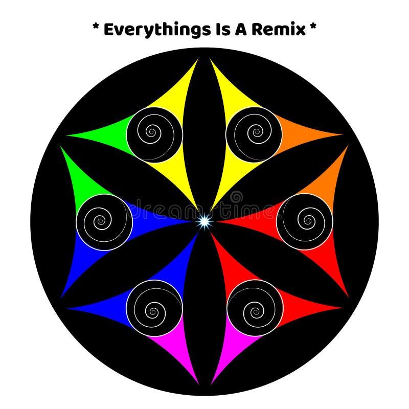 Inizio di amore di pace di colore dell'universo della mandala royalty illustrazione gratis