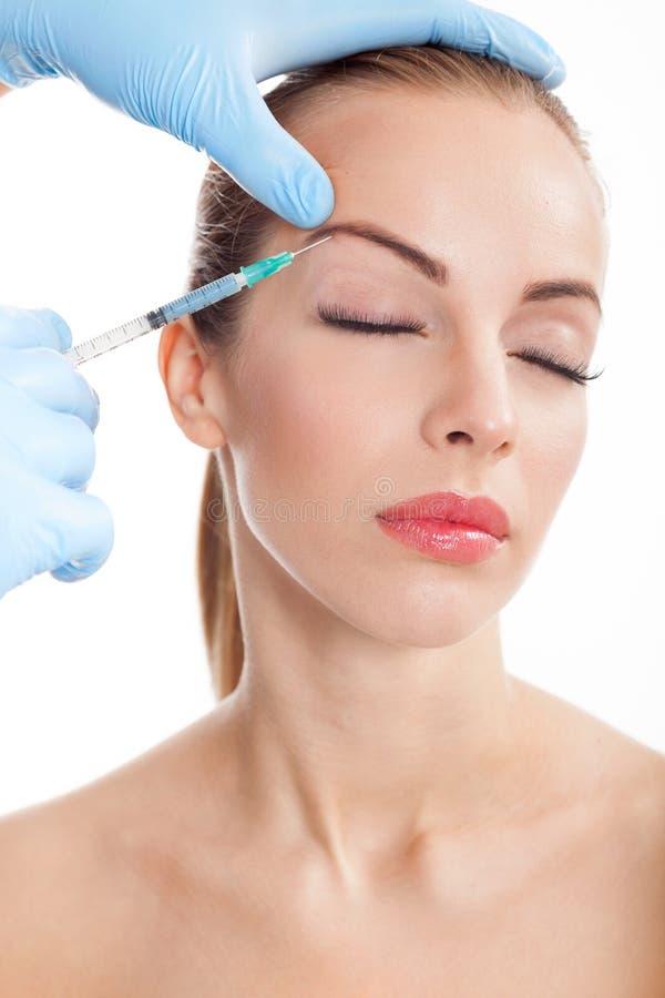 Injeção cosmética do botox, close-up foto de stock