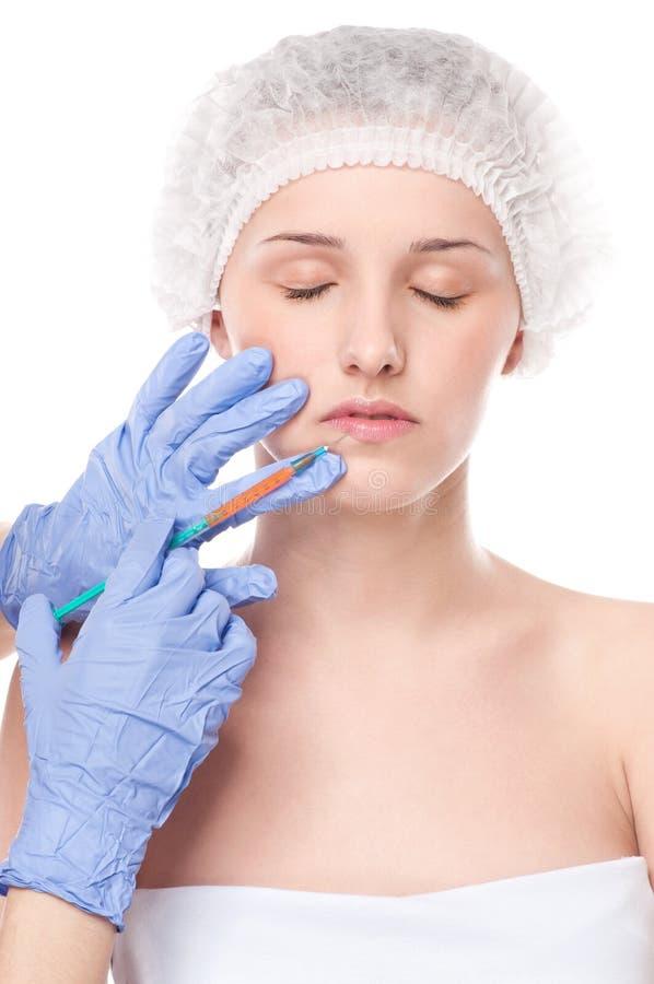 Injeção cosmética do botox na face foto de stock royalty free