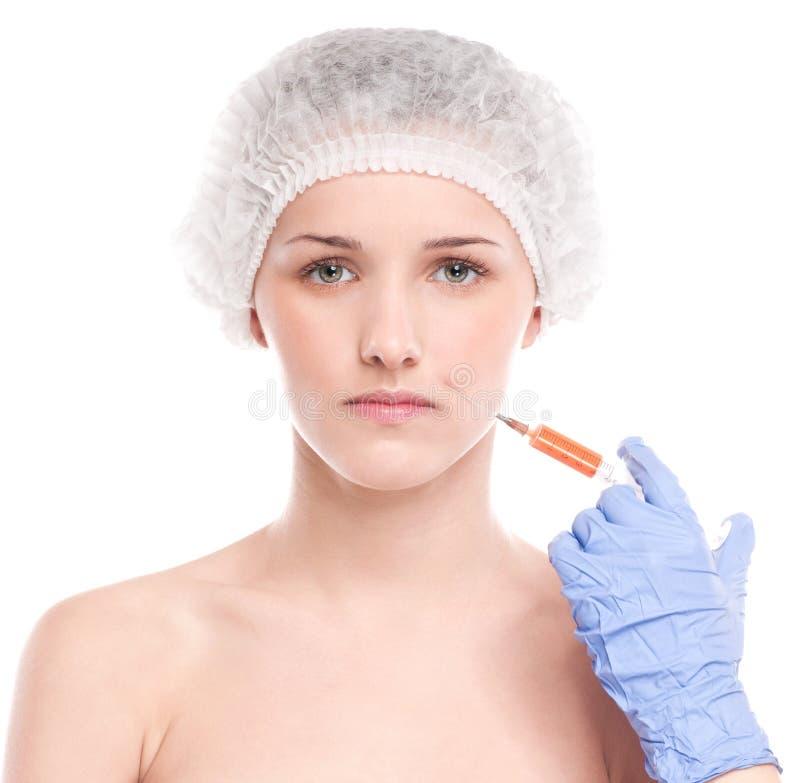 Injeção cosmética do botox na face imagem de stock