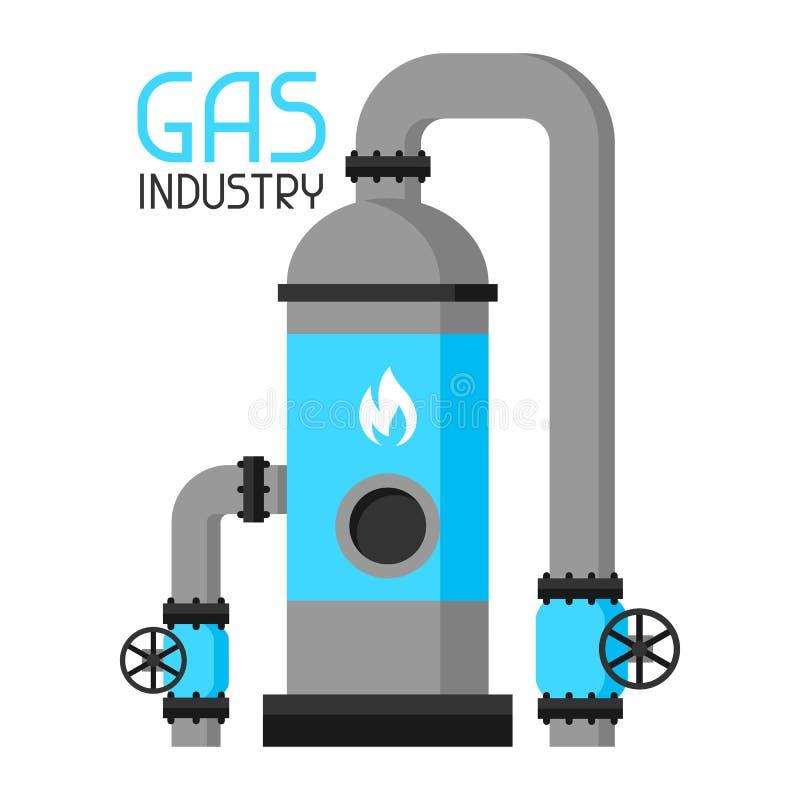 Injeção e armazenamento do gás Ilustração industrial no estilo liso ilustração stock
