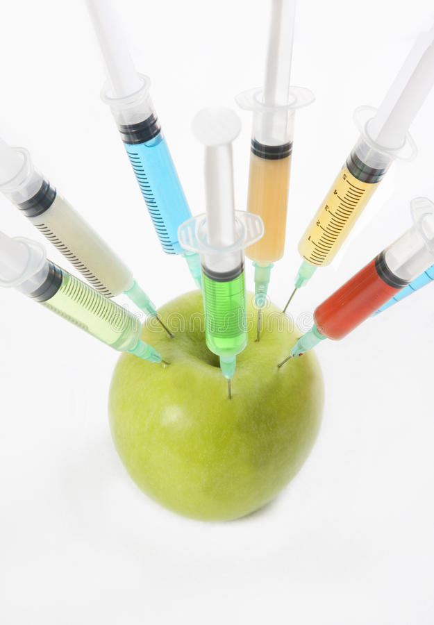 Injected apple stock photo