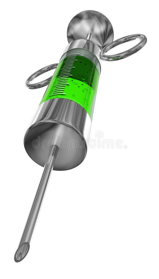 Injection. Out of metal with green liquid inside royalty free illustration