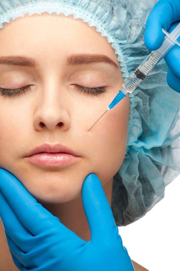 Injection cosmétique de botox photos stock