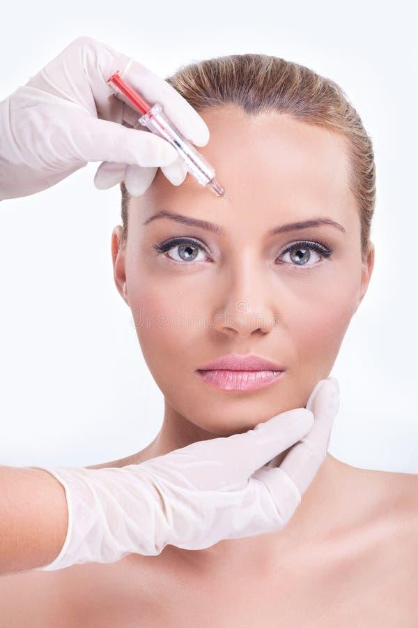 Injection cosmétique de botox photo libre de droits